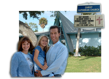 Pastor Greg, Beth his wife, and Naomi, in front of Christ Lutheran Church, Cape Canaveral