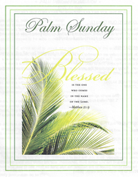 Palm Sunday bulletin cover image showing Palm Tree leaves