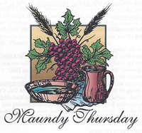 Maundy Thursday image representing the Lord's Supper with his Wine and Bread