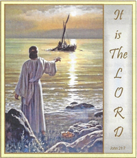 Jesus appearing by the Sea of Galilee, his third appearance after the Resurrection, May 04 2014, Sunday church bulletin cover image