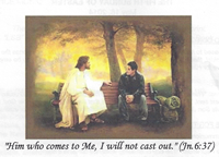 Church Bulletin cover image showing Jesus Christ sitting on a park bench talking to a young man