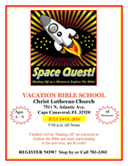 Vacation Bible School 2014 information page and registration form