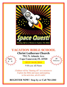 Link to our VBS page of Blasting Off on a Mission to Explore The Bible - Vbs logo 2014 - Christ Lutheran Cape Canaveral