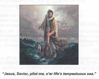 The Christian Life, Hard or Easy? - Bulletin cover image , a man asking Jesus to pilot him across life's tempestuous sea