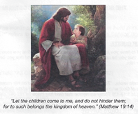 07-20-14-Jesus sitting down on a tree with a small child - Bulletin Cover image