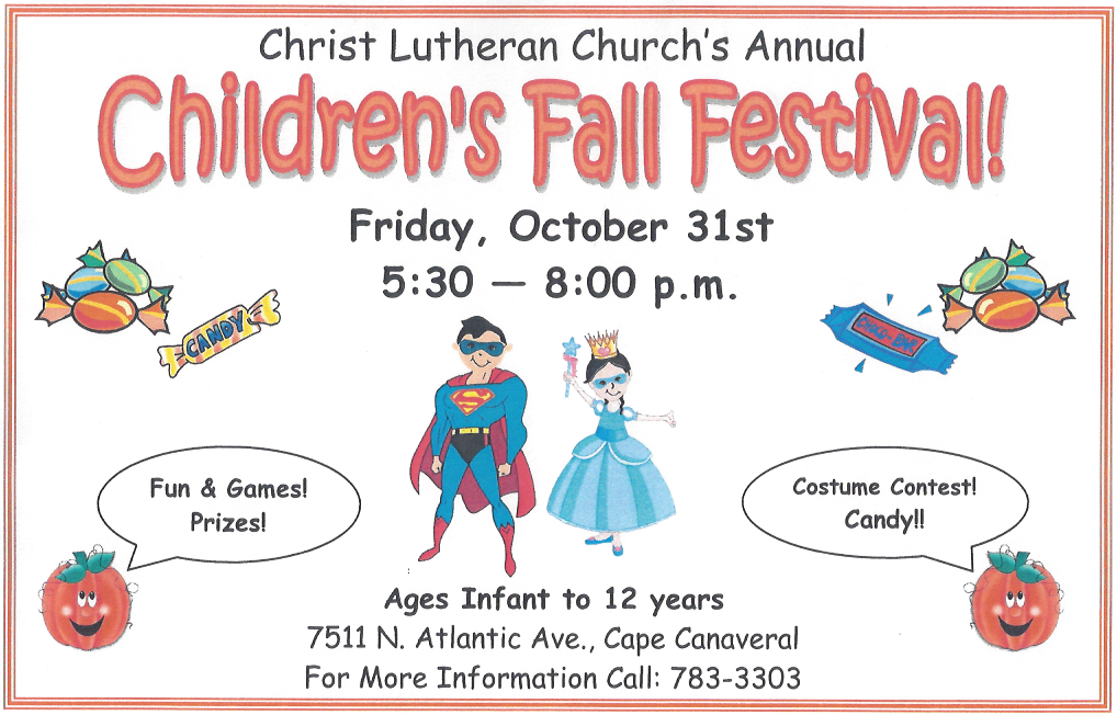 Children's Fall Festival Flyer - October 31 2014 at Christ Lutheran Church, Cape Canaveral