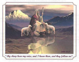 Christ sitting with his sheep and the waters and the mountains in the background. February 01, 2015