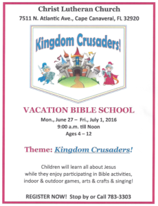 Vacation Bible School 2016 Flyer - Registration - Form PDF download