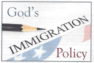 Church bulletin image - God's Immigration Policy - image w pencils and faded flag